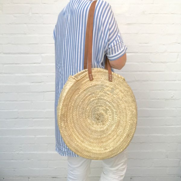 Handwoven Rustic Round French Shoulder Bag